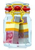 Zamknięty szklany słój z plikami Chińscy banknoty Juan Obrazy Stock