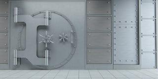 Zamkniętych ogromnych bank krypty drzwi frontowy widok ilustracji