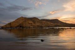 Zamknięta zatoczka w Aguilas przy zmierzchem, Murcia Obraz Stock