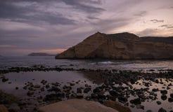 Zamknięta zatoczka w Aguilas przy zmierzchem, Murcia Obrazy Stock