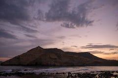 Zamknięta zatoczka w Aguilas przy zmierzchem, Murcia Obrazy Royalty Free