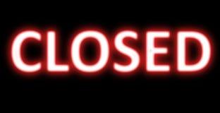Zamkniętego sztandaru neonowy znak Fotografia Stock