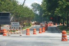 zamkniętej budowy nowa droga Zdjęcia Stock