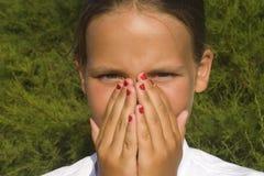 zamkniętej dziewczyny nos Zdjęcia Stock
