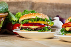 zamknięty hamburger Zdjęcia Stock