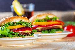 zamknięty hamburger Obrazy Royalty Free