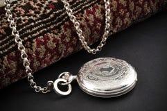 zamknięty kieszeni srebra zegarek Fotografia Royalty Free