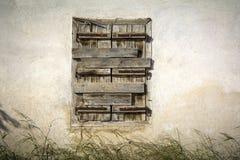 zamknięty nadokienny drewniany Obrazy Royalty Free