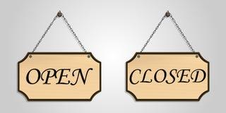 Zamknięty otwarty deskowy drewniany zrozumienie wektor Zdjęcie Royalty Free