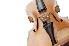 zamknijcie skrzypce Zbliżenie skrzypce odizolowywający na bielu fotografia royalty free