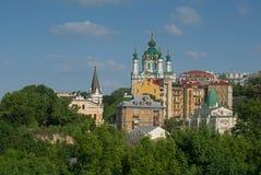 Zamkova Hora hill with  famous Saint Andrew's Church Stock Image