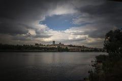 Zamora catedral río. Zamora los Pelambres río duero día Royalty Free Stock Photo