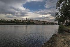 Zamora catedral río. Zamora los Pelambres río duero día Royalty Free Stock Image
