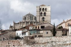 Zamora cathedral romanesque building historic. Romanesque ancient building historic cathedral Zamora, Spain. Clouds and blue sky Stock Photos