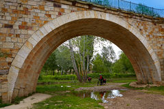 Zamora most Przez i roweru pielgrzym De Los angeles Plata Zdjęcie Royalty Free