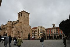 Main square and City Hall, Zamora Spain stock image