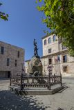 Plaza Viriato with sculpture of the same one in Zamora Spain. Zamora, Spain; September 2018: The statue of Viriato is a sculptural work that represents the stock photo