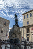 Zamora square Viriato. Square of the deputation with the inn and the sculpture of viriato in Zamora, Esapña Royalty Free Stock Image