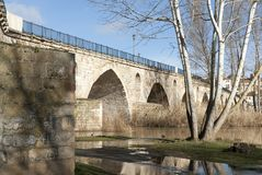 Stone bridge romanesque Zamora historic. Zamora stone medieval bridge, travel Spain historic city and river Royalty Free Stock Photography