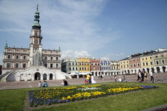 Zamosc. POLAND - MAY 23: main market square in the old town of  on May 23, 2011 in , Poland. It is on the UNESCO World Heritage List and it's called The Pearl Royalty Free Stock Image