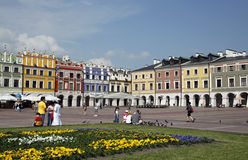 Zamosc. POLAND - MAY 23: main market square in the old town of  on May 23, 2011 in , Poland. It is on the UNESCO World Heritage List and it's called The Pearl Stock Photo