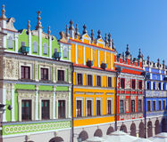 Zamosc, Poland. Historic buildings of the old town. Know as the Great Market Stock Photo