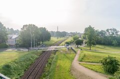Railway track in Zamosc in the morning