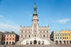 Zamosc, Polen 19. November 2016: Muss Platz in der alten Stadt, Rathaus sehen auf Hauptplatz Stockbild