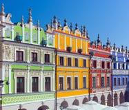 Zamosc, Pologne Bâtiments historiques de la vieille ville photo stock
