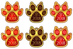 Zampa 2018 del cane del nuovo anno Insieme degli autoadesivi royalty illustrazione gratis