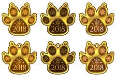 Zampa 2018 del cane del nuovo anno Insieme degli autoadesivi illustrazione vettoriale