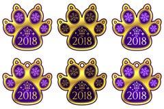 Zampa 2018 del cane del nuovo anno Insieme degli autoadesivi Immagine Stock