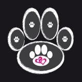 Zampa del cane su fondo nero Immagine Stock Libera da Diritti