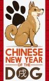 Zampa e cucciolo per il nuovo anno cinese del cane, illustrazione di vettore royalty illustrazione gratis