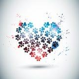 Zampe luminose astratte di amore Immagini Stock