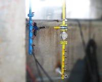 Zamykać klapy dla gazu i tlenu Operacyjna jednostka dla gazu i woła Zdjęcia Stock