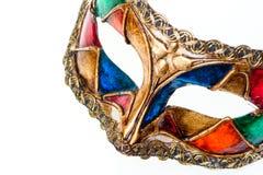 zamyka barwioną odosobnioną maskę w górę venetian whi Zdjęcia Stock