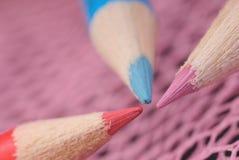 zamyka barwionego ołówek trzy Zdjęcie Stock