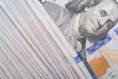 Zamyka Benjamin Franklin up stawia czoło na dolarze amerykańskim obraz stock