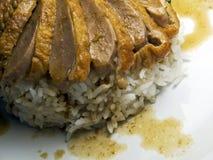 Zamyka rice Pieczona Kaczka Z Rice Zdjęcia Royalty Free