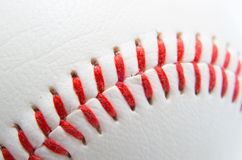 Zamyka strzał baseballi ściegi Obrazy Royalty Free