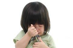 Zamyka up śliczny azjatykci dziecko płacz Obrazy Royalty Free