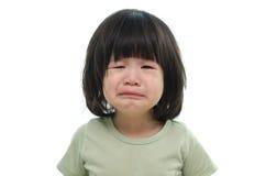 Zamyka up śliczny azjatykci dziecko płacz Zdjęcie Royalty Free