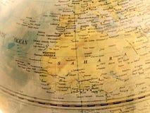 Zamyka up afryka pólnocna na kuli ziemskiej, rocznika brzmienie Zdjęcia Royalty Free