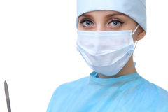 Zamyka up chirurg kobieta patrzeje kamerę, odizolowywający Obrazy Stock