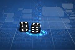 Zamyka up czarni kostka do gry na błękitnym kasyno stole Zdjęcia Royalty Free