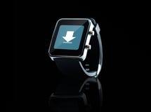 Zamyka up czarny mądrze zegarek zdjęcie stock
