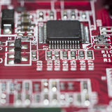 Zamyka up Elektroniczni obwody w technologii na Mainboard Obrazy Stock