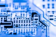 Zamyka up Elektroniczni obwody w technologii na Mainboard tła logiki komputerowej desce, jednostki centralnej płyta główna, Główn Fotografia Stock
