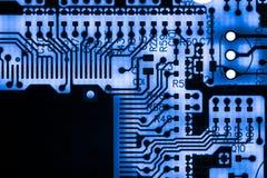 Zamyka up Elektroniczni obwody w technologii na Mainboard tła logiki komputerowej desce, jednostki centralnej płyta główna, Główn Fotografia Royalty Free